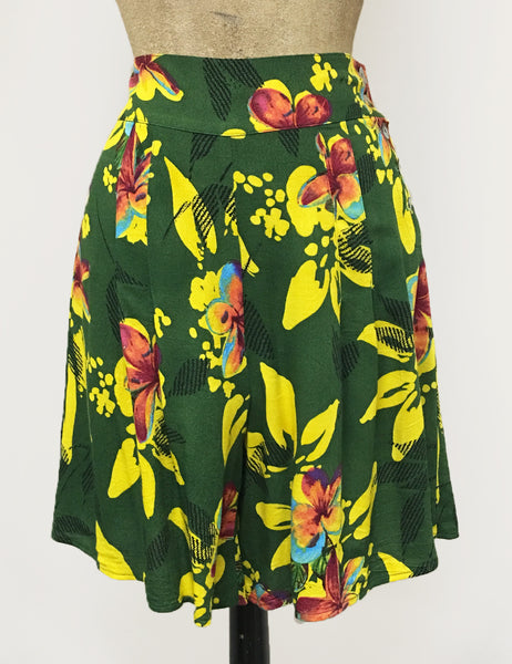 Neon Tropical Floral Print Soft High Waisted Retro Shorts