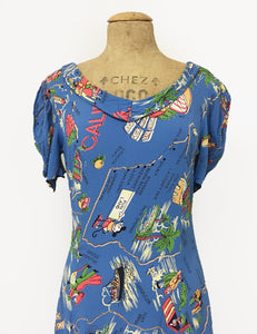 Exclusive Pacific Blue Vintage California Map Print Venice Beach Swing Dress