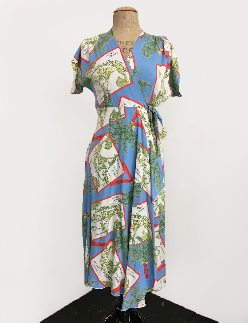 Oceanic Map Print 1940s Style Soft Cascade Wrap Dress