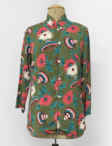 Olive Green Retro Sombrero Print Button Up Mandarin Blouse
