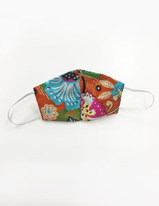 Orange Boho Floral Cotton Handmade Washable Face Mask