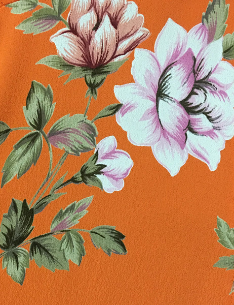 Orange & Purple Floral Short Sleeve Knee Length Vintage Day Dress - FINAL SALE