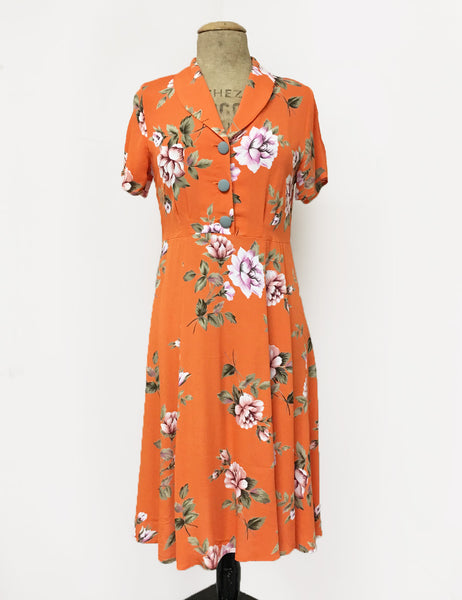 Orange & Purple Floral Short Sleeve Knee Length Vintage Day Dress