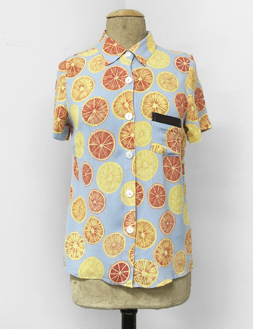 Blue Summer Orange Slices Button Up Short Sleeve Camp Shirt