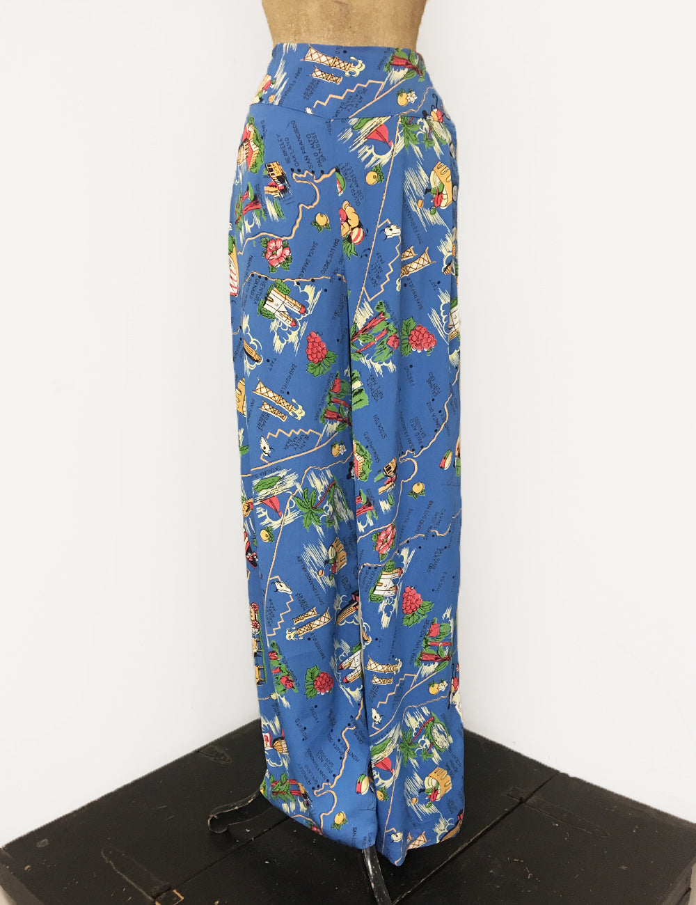 Exclusive Pacific Blue California Map Print 1940s Style High Waisted Palazzo Pants