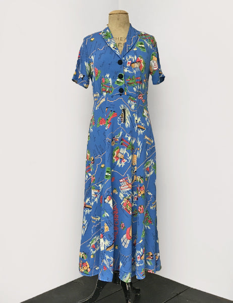 1940s Vintage Tea Length Short Sleeve Day Dress in Pacific Blue Exclusive California Map Print