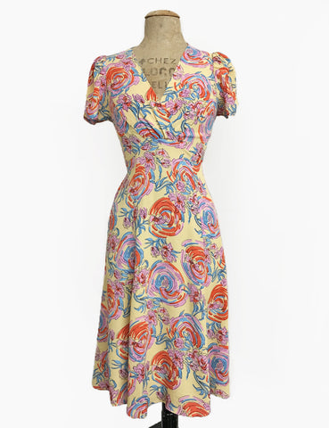 Pastel Floral Sunday Best Knee Length Rita Dress