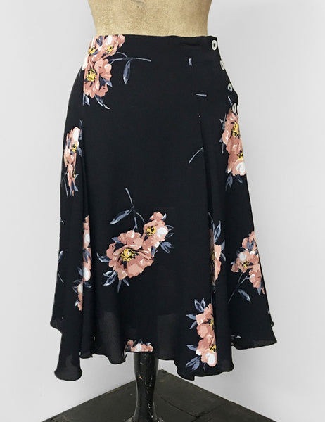Black & Peach Dogwood Floral Venice Beach Balboa Circle Swing Skirt