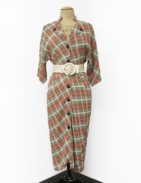 Pink & Green Plaid Button Up Belted 1940s Manhattan Wiggle Dress