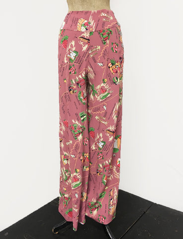 Exclusive Dusty Rose California Map Print 1940s Style High Waisted Palazzo Pants