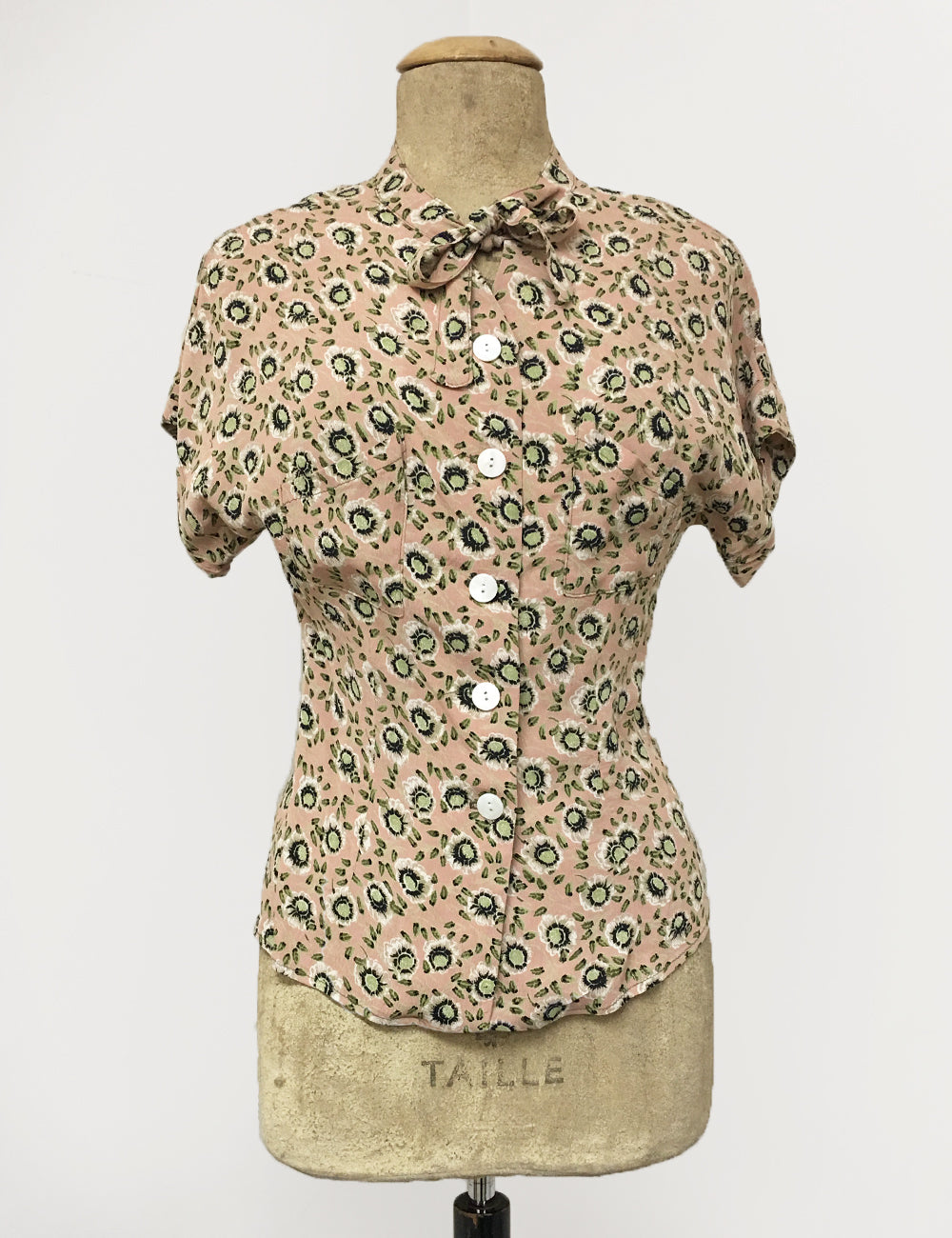 Peach & Green Pansy Floral Print 1940s Style Amanda Tie Blouse- FINAL SALE