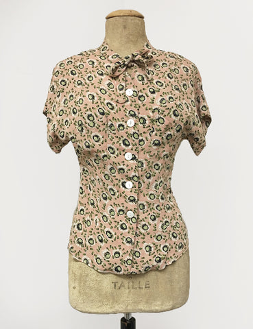 Peach & Green Pansy Floral Print 1940s Style Amanda Tie Blouse