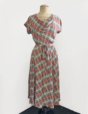 Vintage Style Pink & Green Plaid Megan Cowl Neck Dress