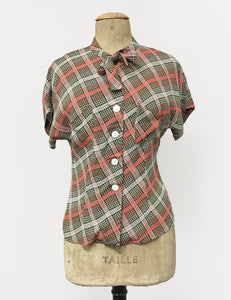 Pink & Green Plaid 1940s Style Amanda Tie Blouse