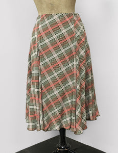Pink & Green Plaid Venice Beach Balboa Circle Swing Skirt
