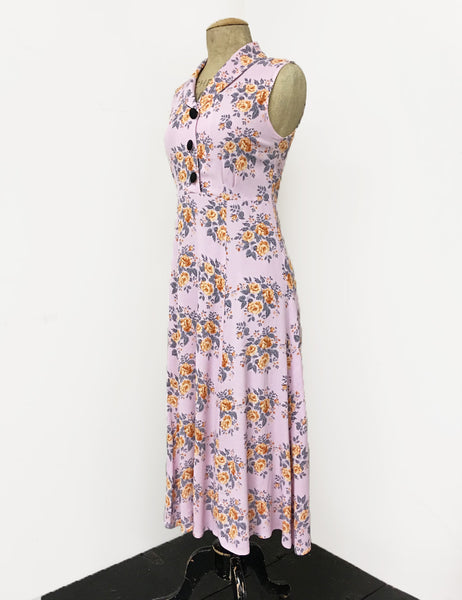 Pink Bright Floral Sleeveless Tea Length Vintage Sundress