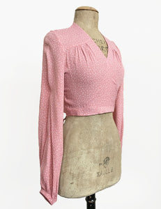 Sweet Pink Pixie Dot Vintage Inspired Babaloo Wrap Top