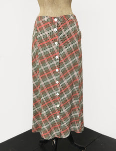 Pink & Green Plaid 1940s Style Button Front Jade Skirt