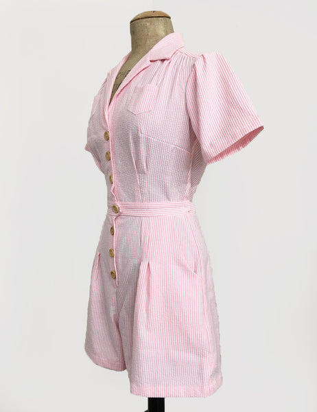 Scout for Loco Lindo Pink Seersucker 1940s Carolina Romper