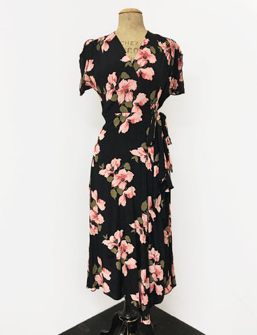 Pink & Black Tropical Nights 1940s Inspired Style Cascade Wrap Dress