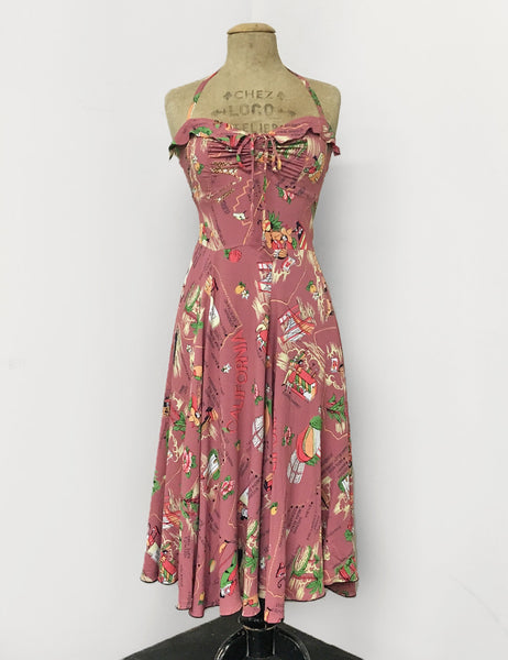 Exclusive Dusty Rose California Map Print 1940s Marta Halter Swing Dress