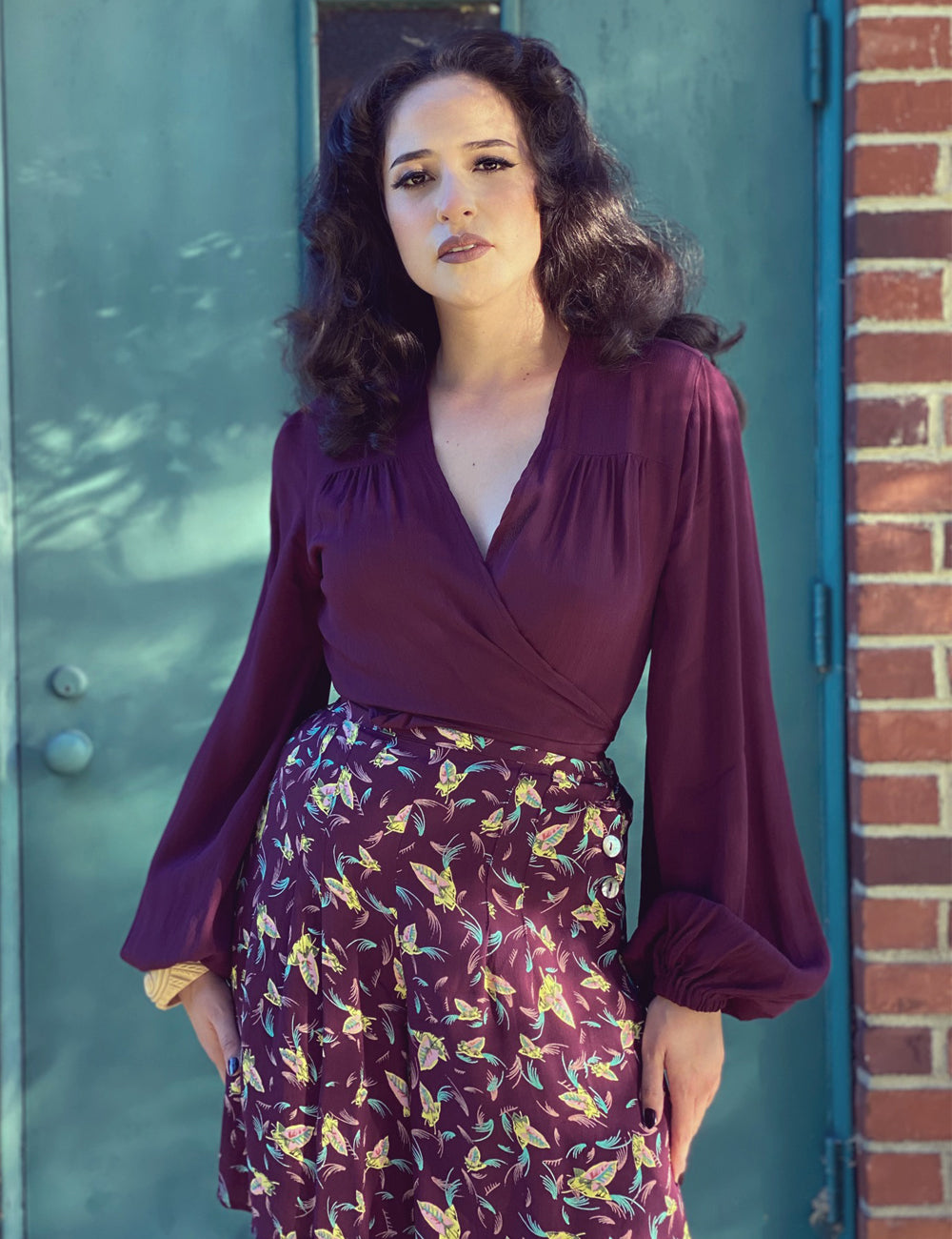 Solid Plum Balloon Sleeve Babaloo Tie Crop Top