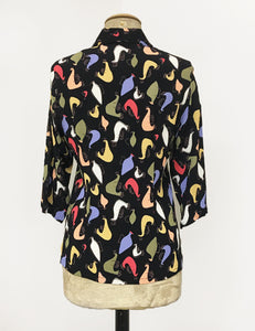 Black Pollo Loco Pring Doris Button Up Shaped Shirt