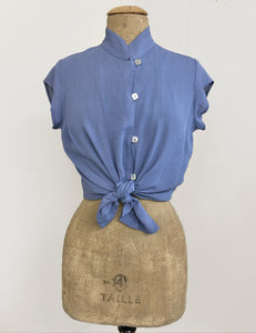 Powder Blue Vintage Inspired Mandarin Collar Tea Timer Top