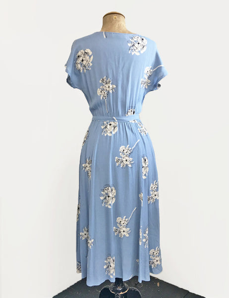 Vintage Style Powder Blue Stencil Floral Megan Cowl Neck Dress
