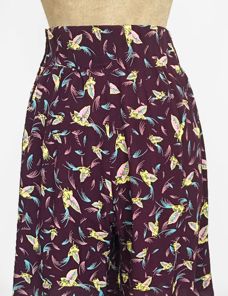 Purple Colorful Feathers High Waisted Retro Shorts