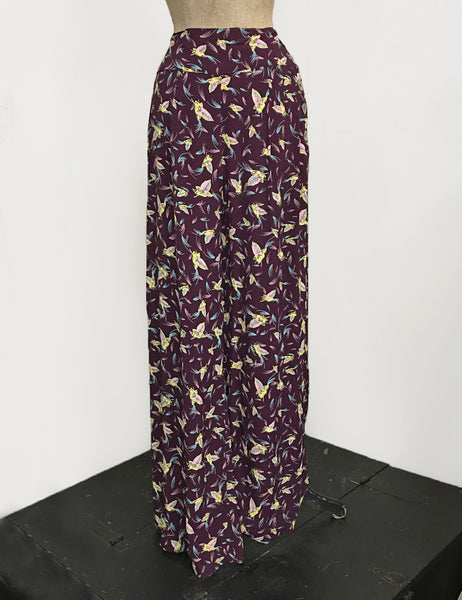 Purple Colorful Feathers 1940s Style High Waisted Palazzo Pants