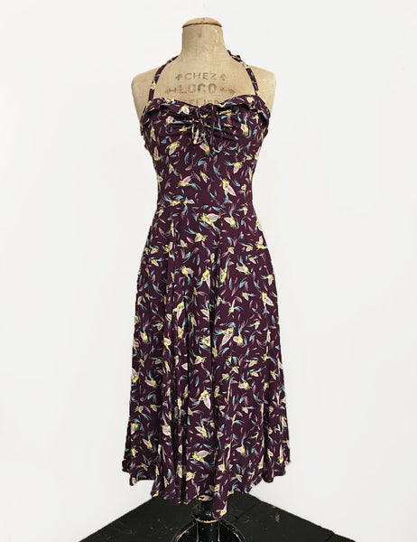 Purple Colorful Feathers 1940s Marta Halter Swing Dress
