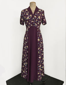 Colorful Purple Feathers 1940s Contrast Tea Length Day Dress