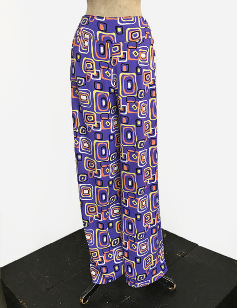 Purple Mid Century Halloween Print High Waisted Palazzo Pants - FINAL SALE