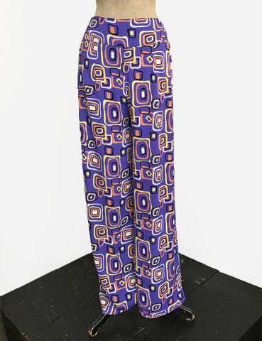 Purple Mid Century Halloween Print High Waisted Palazzo Pants