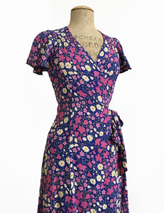 Vintage Inspired Purple Posey Biasa Wrap Dress