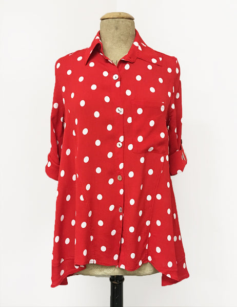 Red & White Big Polka Dot Button Up Collared Hi-Low Blouse