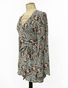 Black & Colorful Ragtime Floral Print Biba Wrap Top