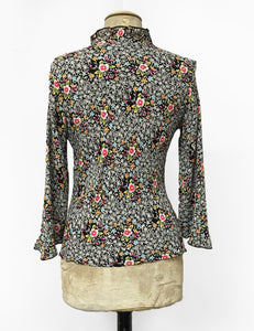 Black Ragtime Floral Print Ruffle Fitted Femme Blouse