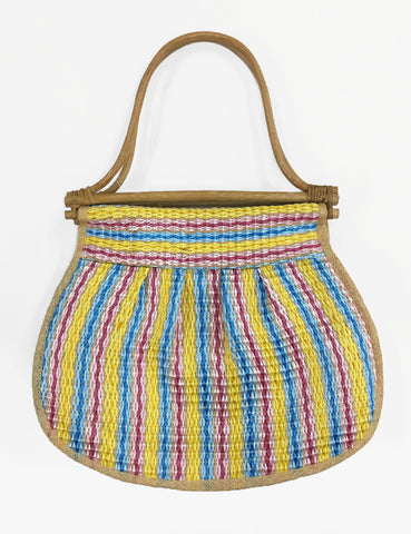 Vintage Mr. Ernest Colorful Striped Woven Large Purse