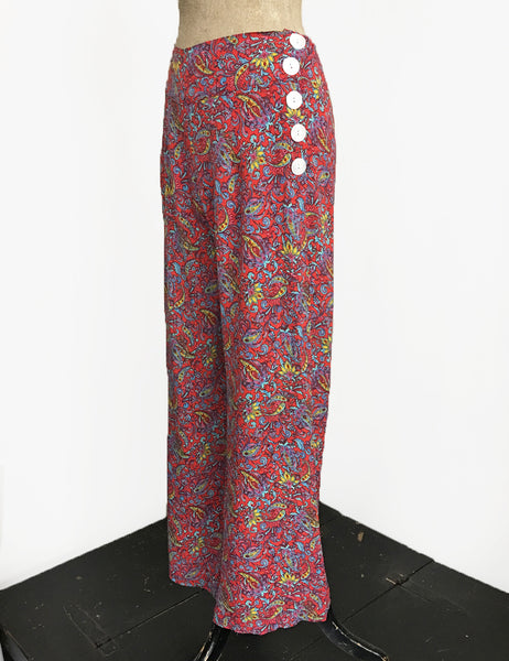Red Colorful Paisley Print Retro 1940s Style High Waisted Palazzo Pants