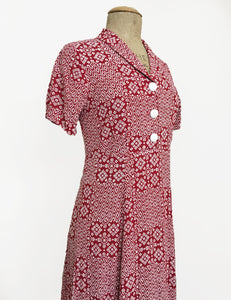 Red Bandana Print Short Sleeve Below the Knee Vintage Day Dress