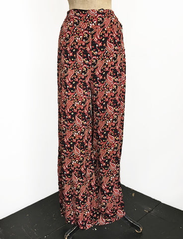 Black & Red Paisley Print High Waisted Palazzo Pants - FINAL SALE