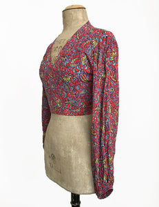 Red Colorful Paisley Print Balloon Sleeve Babaloo Crop Wrap Top