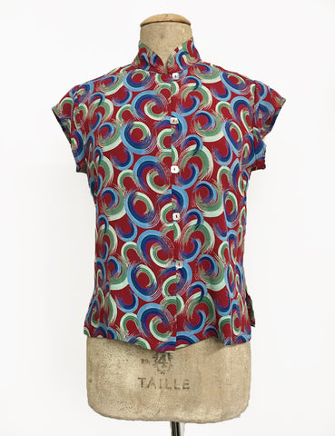 Red Colorful Swirls Mandarin Collar Button Up Tea Timer Top