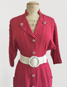 Red & White Polka Dot 1940s Style Belted Manhattan Dress