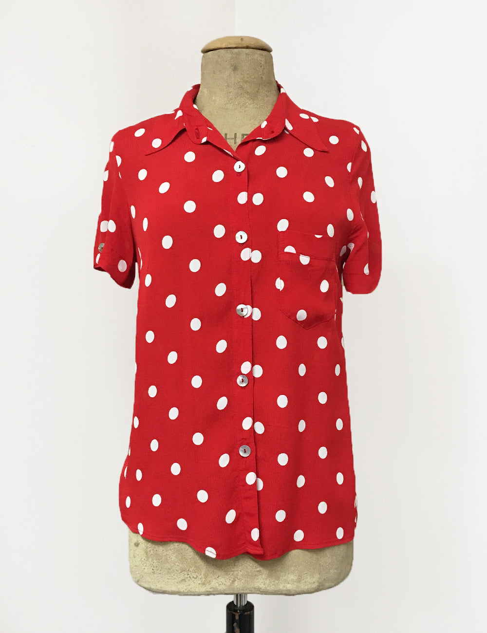 Red & White Big Polka Dot Button Up Short Sleeve Camp Shirt