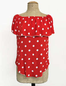 Red Polka Dot Ruffle Top Dolores Peasant Blouse - FINAL SALE