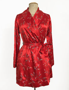Red Printed Satin 1930s Style Shawl Collar Kimono Robe