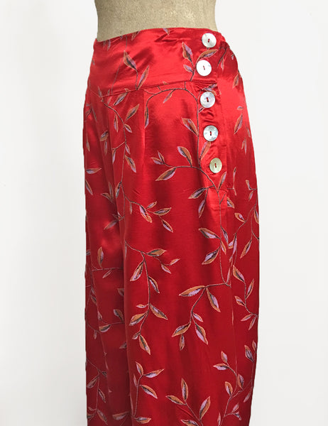 Red Printed Satin 1930s Style High Waisted Palazzo Pants